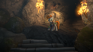 Littlepip in cave by Ponilek