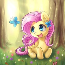 Fluttershy and Butterfly by NinjaHam