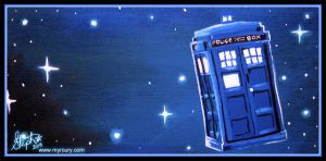 Tardis - Acrylic on wood by Myrcury-Art