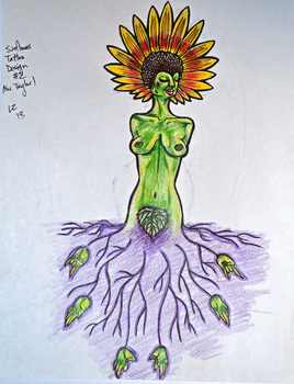 Sunflower Tattoo Design 2 by Zeezster