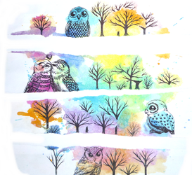 Owls by Loroqueen