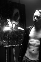 Michael Andrew Law and his painting by florencelawman