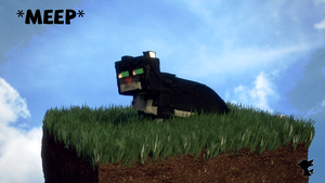 A Reasonably Realistic Minecraft Cat on Grass by TheDuckCow