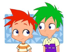 phineas and ferb in my style by isuzu9