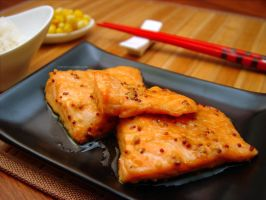Salmon teriyaki kind of by maytel
