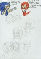 Sketchs- Knuckles the Echidna by wandablazer