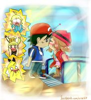 Ash and Serena Kiss by Xalsr27X
