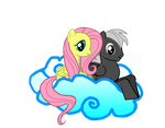 Fluttershy and Silver Streak relax on a Cloud by Fluttershy-Lover