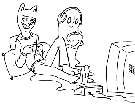 Burgerpants and Napstablook chilling by fishyhylian