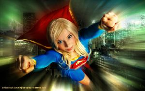 Supergirl above the city by EnjiNight