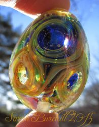 'I need a Little Space' lampwork Universe Egg by fairyfrog