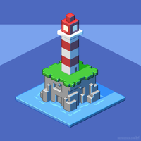 Lighthouse isometric pixel art by m7