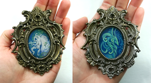 Tiny Frames: Unicorn and Dragon by thedancingemu