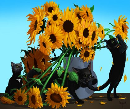 Black Cats and Sunflowers by Mike-Marsden