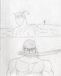 Zoro vs Samurai Jack (old unfinished sketch) by Yojama