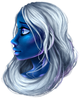 I suck at painting, here's a Blue Diamond by Guumi-fish
