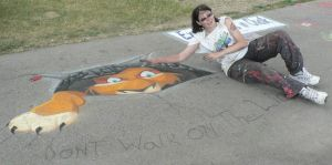 First 3D Chalk Painting by Timitu