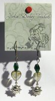 YDT - Green Dangly Earrings by bumblefly