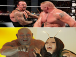 Drax and Mantis Laughing at Undertaker's Face by EarWaxKid
