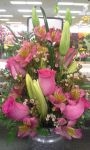 Pink Wild Rose and Lily Arrangement by pippierafrostlin