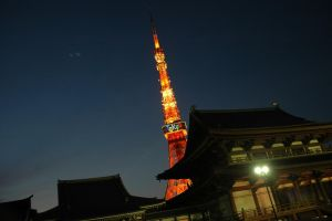 Tokyo Tower with Zojoji Temple in the foreground by JAFNOVA