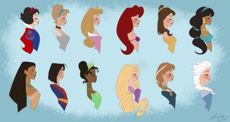 Princess Line Up by Lily-the-Animator