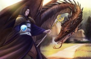Commission- wizard and dragon by mayshing