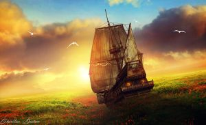 Fantasy ship by CharllieeArts