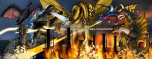 Return of King Ghidorah by Fourgreen