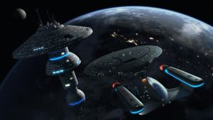 Enterprise D Docking at a Starbase by Cannikin1701