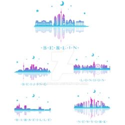 Set of city Skyline landmark silhouette with color by kalongart