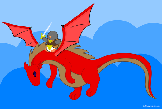 Penguin dragon rider by silver-vanargand