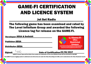 Jet Set Radio Game-Fi Phase Two Certificate by LevelInfinitum