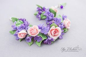 Bracelet with roses and lilacs from polymer clay by polyflowers