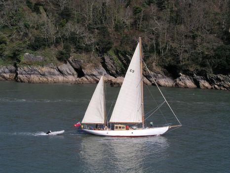 Yacht on the River Dart by UdoChristmann