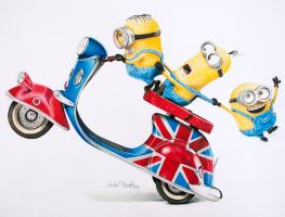 Minions - color pencil by byMichaelX