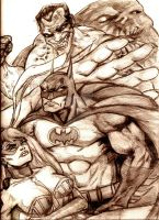 White Rabbit, Batman, Titan Joker and Clayface by MisterHydesSon