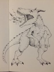 Inktober Day 19 - Dragonsaurus by OniRuu