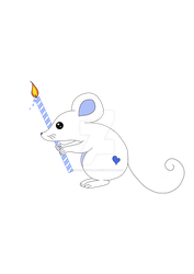 Cute  mouse with birthday candle by stockmichelle