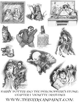 Harry Potter: Book 1 Chapter 1 Vignette Drawings by TheGeekCanPaint