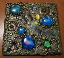 Butterfly polymer clay plaque by MandarinMoon