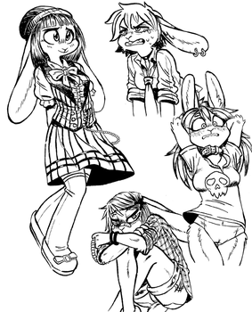Moar Bunnies (Inks) by rabbitmaskedman