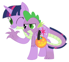 Twilight x Spike Halloween Conjoined by MLPConjoinment