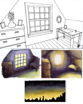 Attic layout and paint sketches by Benjamin-the-Fox