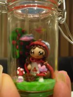 Polymer clay Little red riding hood in glass jar by KimmieNL