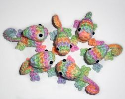 New Pastel Rainbow Crochet Chameleons by happysquidmuffin