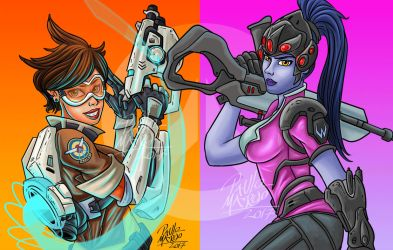 Tracer and Widowmaker by pauloomarcio