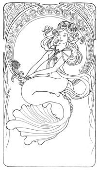 Mucha Mermaid Line Art by LiquidFaeStudios