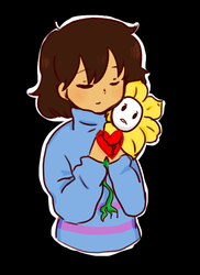 Frisk and Flowey by Faraminia