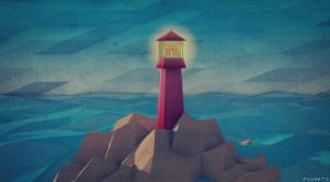 Low Poly Lighthouse on Rocks. by pyxArtz